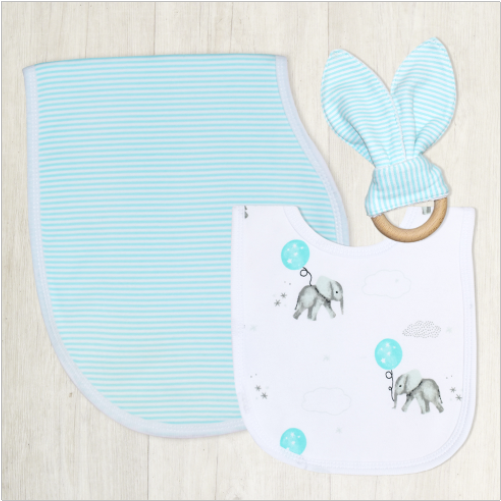 3 Piece Gift Set Bib Burp Teether