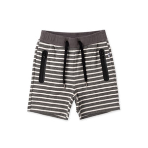 Zippy Short Charcoal Stripe