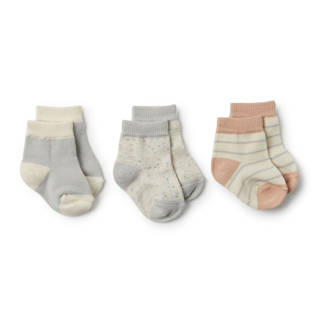 Glacier Grey,Blush Fleck 3 Pack Baby Socks