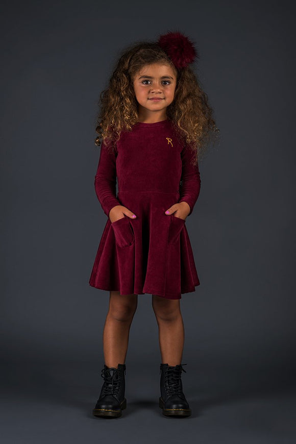 Burgundy Corduroy LS Waisted Dress