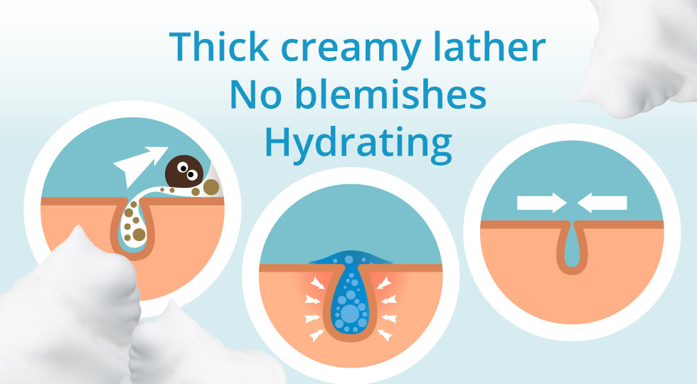 thick creamy lather no blemishes hydrating