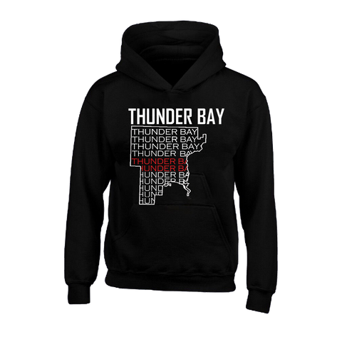 Hoodie - Thunder Bay Map with thunder bay words