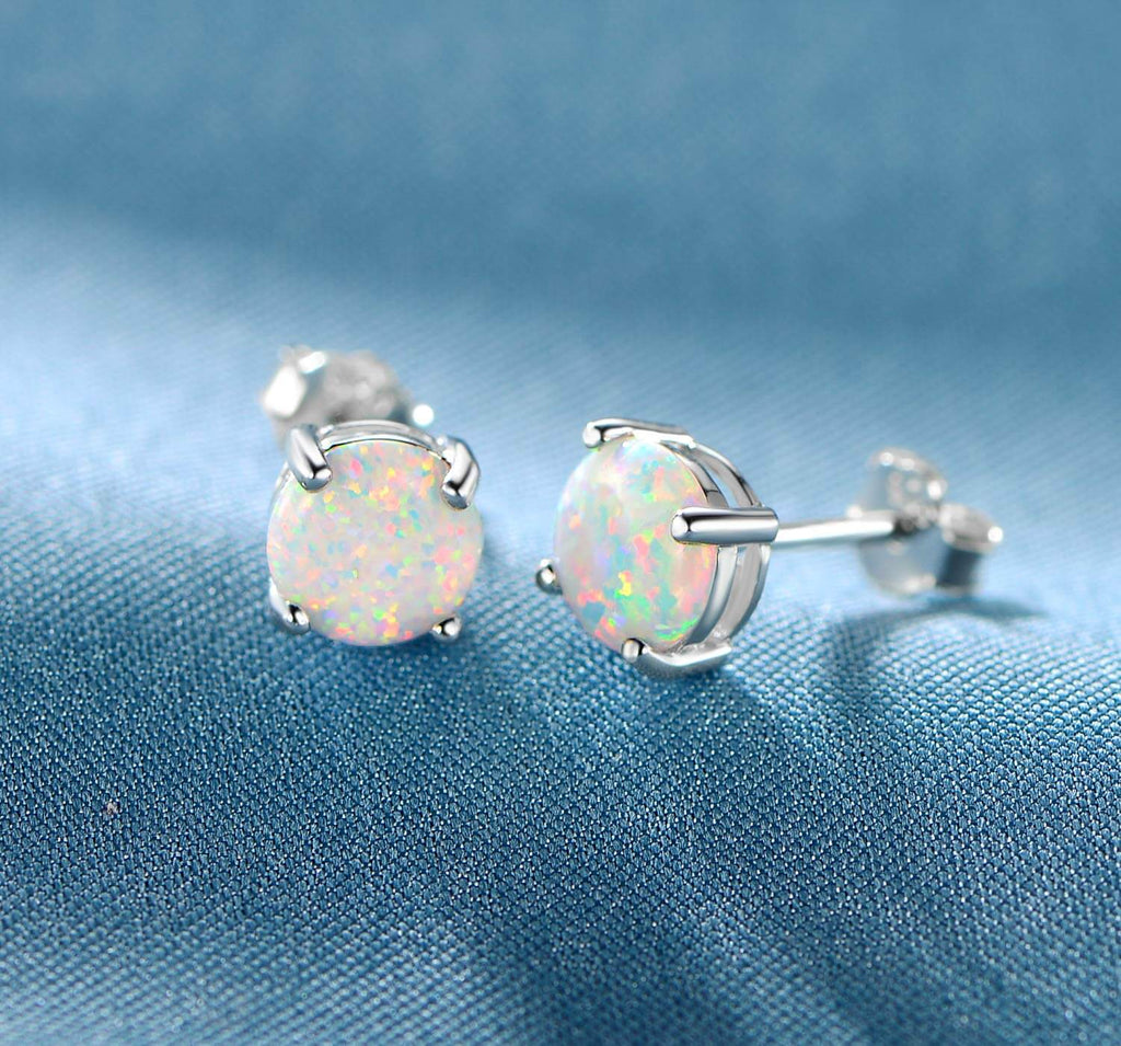 8d796218e GEMSME 18K White Gold Plated Round White Opal Stud Earrings For Women – GEMSME  JEWELRY