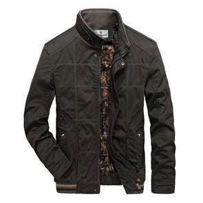Army Green Ornamental Grid Jacket