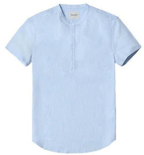 Blue Castaway Linen Short-Sleeve Shirt