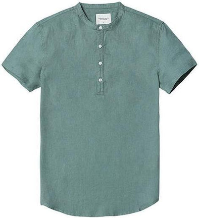 Green Castaway Linen Short-Sleeve Shirt