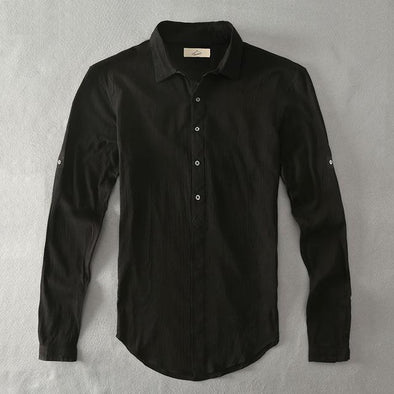 Black Armada Linen Collared Shirt
