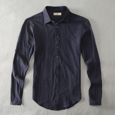 Navy Armada Linen Collared Shirt