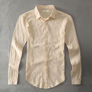Beige Armada Linen Collared Shirt