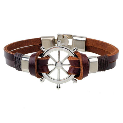 Brown Rustic Leather Steering Bracelet