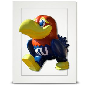 KU Jayhawk Union Entrance statue turning - folded card