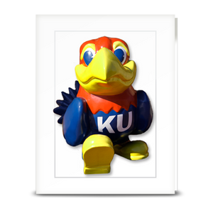 KU Jayhawk Union Entrance statue stepping forward - folded card