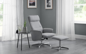 Aura Reclining Swivel Chair with Stool