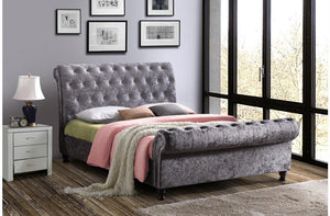 Castello Sleigh Bed in Steel Fabric