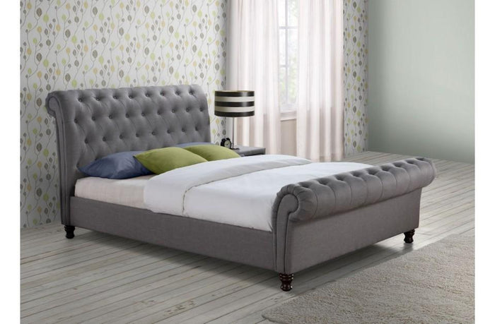 Castello Sleigh Bed in Grey Fabric
