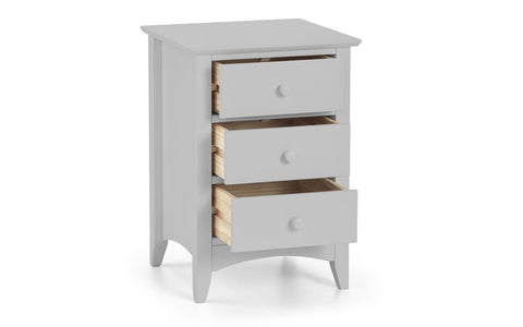 Cameo 3 Drawer Bedside Table - Dove Grey