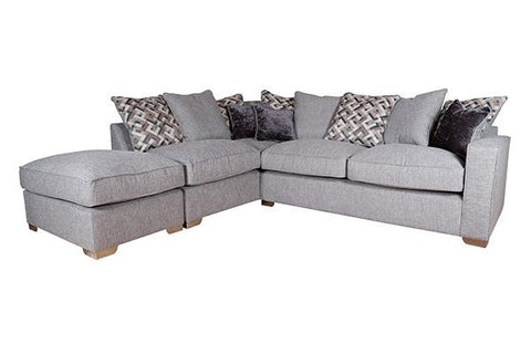 Chicago 2 by 1 Seater and Footstool Left Hand Facing Pillow Back Sofa Bed Corner Group