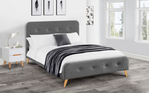 Curve Grey Fabric Bed Frame