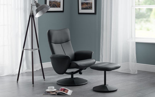 Logan Reclining Swivel Chair with Stoool