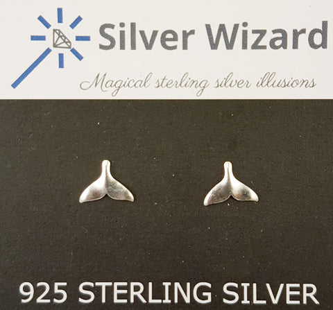 Whale Tail ~ 925 Sterling Silver Stud Earrings
