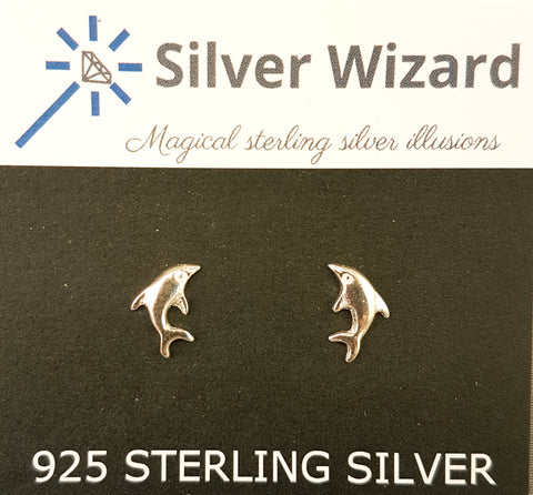 Dolphins Leaping ~ 925 Sterling Silver Stud Earrings