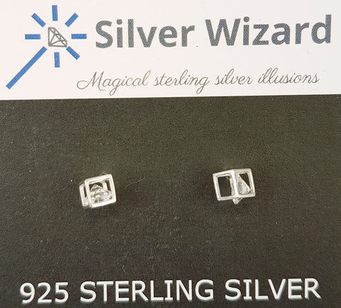 Magic Cube ~ 925 Sterling Silver Stud Earrings with Simulated Diamond