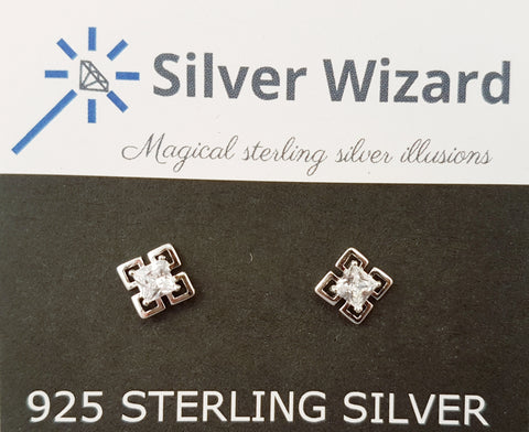 Magic Square ~ 925 Sterling Silver Stud Earrings with Simulated Diamonds