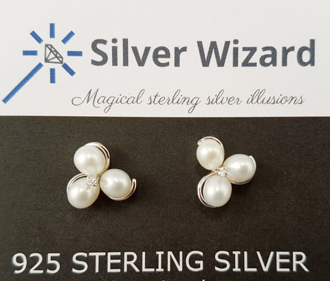 Pearl Trilogy ~ 925 Sterling Silver Stud Earrings with Simulated Diamond