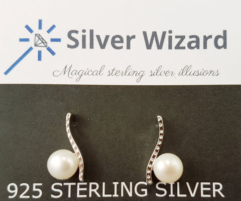 Floating Pearl ~ 925 Sterling Silver Stud Earrings