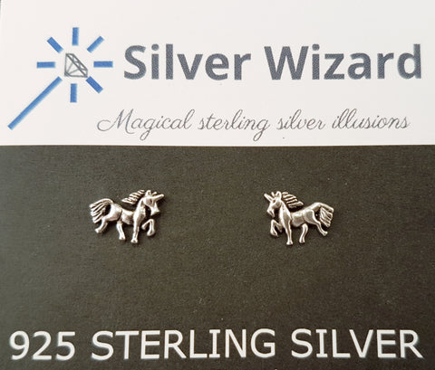 Prancing Unicorns ~ 925 Sterling Silver Stud Earrings