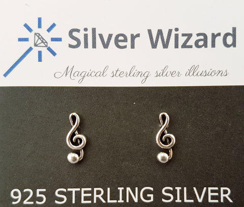 Musical Treble Clef ~ 925 Sterling Silver Stud Earrings