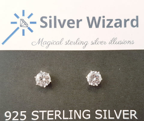 Round Brilliant ~ 925 Sterling Silver Stud Earrings with Simulated Diamonds
