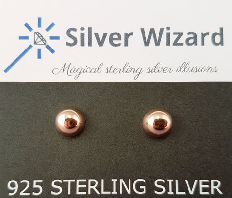Round Dome ~ 925 Sterling Silver Stud Earrings with Rose Gold