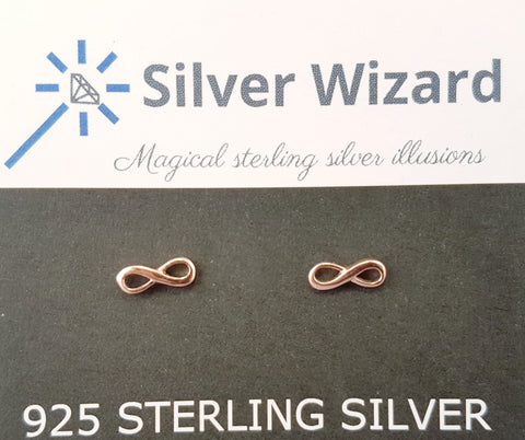 Infinity Symbol ~ 925 Sterling Silver Stud Earrings with Rose Gold