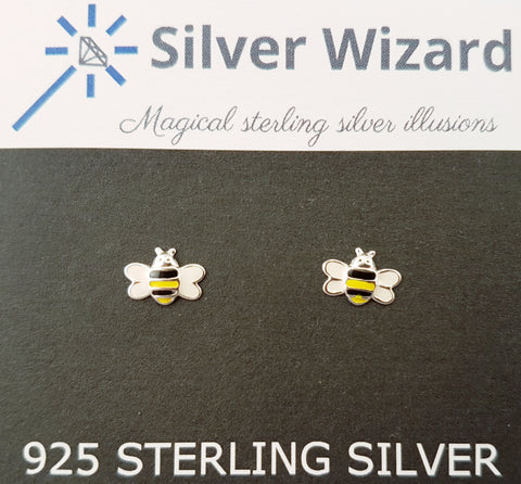 Buzzing Bees ~ 925 Sterling Silver Stud Earrings