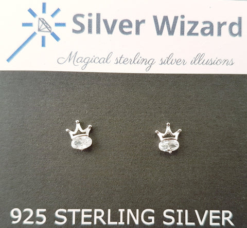 Brilliant Royal Crown ~ 925 Sterling Silver Stud Earrings with Simulated Diamonds