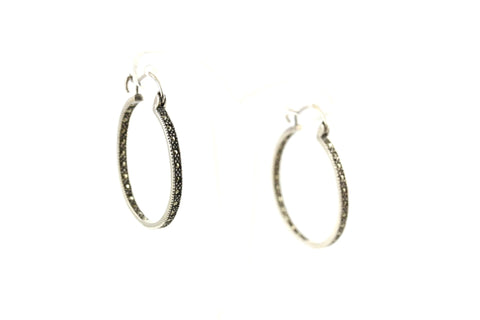 Large Marcasite Hoops ~ 925 Sterling Silver Earrings