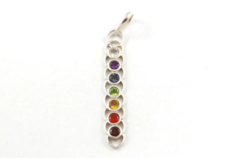 Chakra Pendant ~ 925 Sterling Silver Pendant with Gemstones