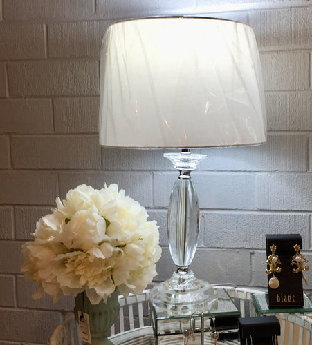 Clear Crystal Table Lamp with White Shade
