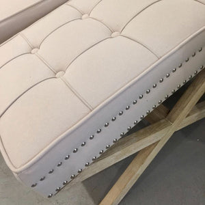 Buttoned Footstool Close Up in Studded Details