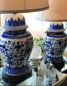 Blue and White Patterned Table Lamps