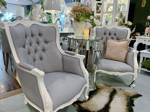 Grey French Provincial Armchair Set