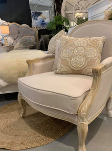 Classic French Provincial style armchair in beige