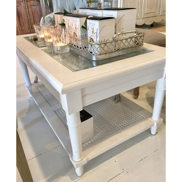 Hamptons Style Coffee Table with Glass Insert