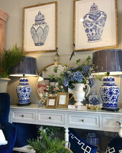 China Style Table Lamp Styled on a Hamptons Console Table