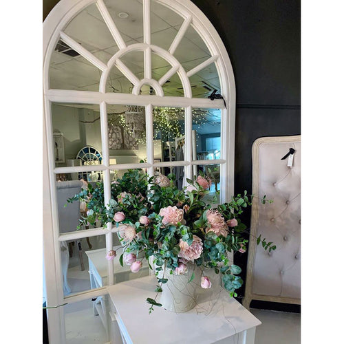 White Wood Arch Statement Mirror