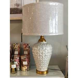 Textured White Tamp Lamp with Gold