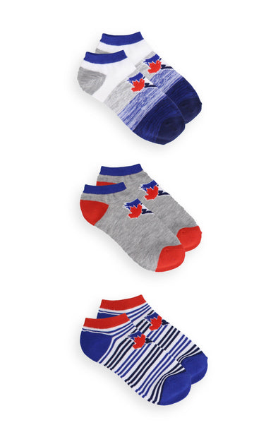 MLB Blue Jays Women's 3 Pack Striped No-Show Socks