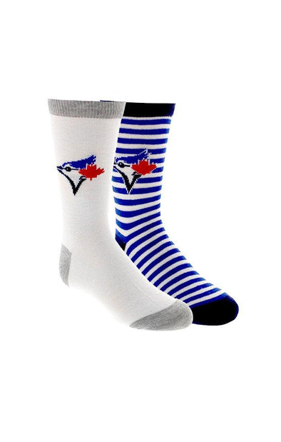 MLB Blue Jays Kids Striped 2-Pack Crew Socks