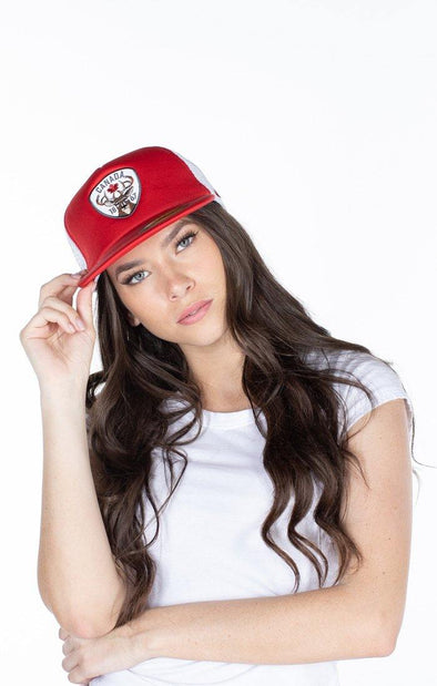 Canada Adult Red Trucker Mesh Cap